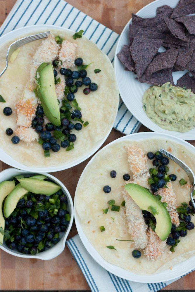 Grilled fish taco with blueberry salsa