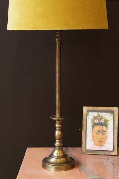 Traditional Candlestick Style Antique Bronze Table Lamp Base Fyc
