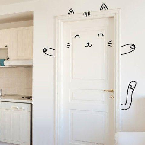 Sisi the Smug Cat Door Decal from Made of Sundays