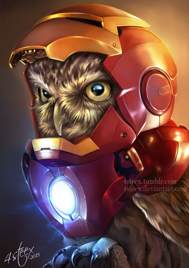 had a bit of spare time between commissions yesterday, so decided to have some fun with this :) the third take on the Owlvengers (Owls cosplaying), this time it's IRON MAN... if you like this one check out the others.