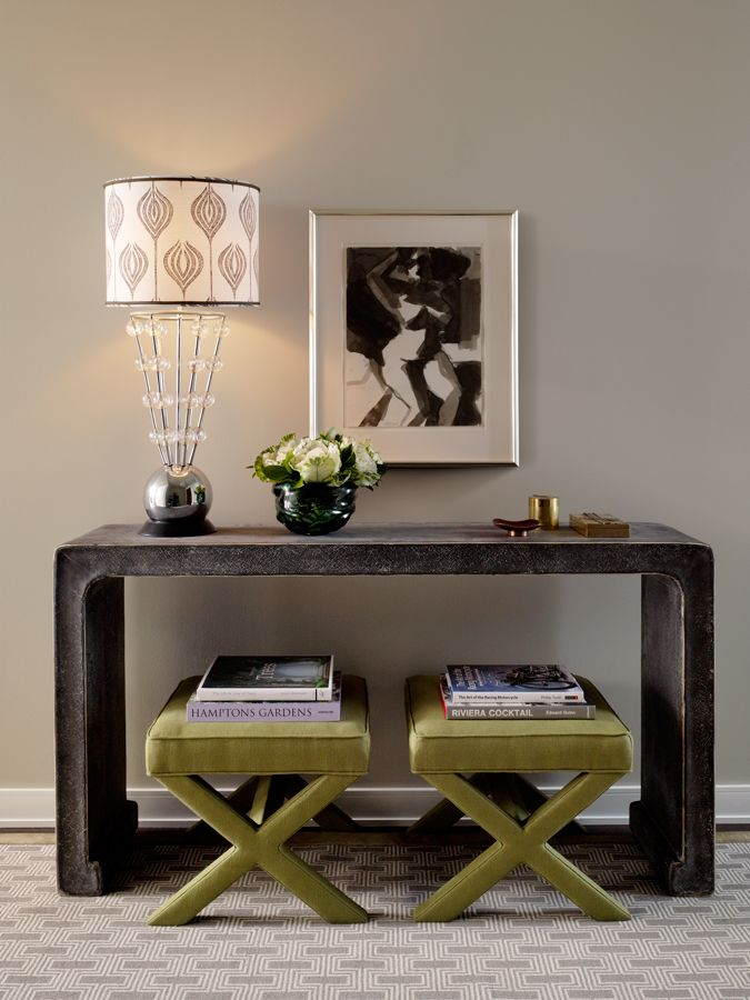 Foyer Table Tv : I never tire of the console table with benches tucked
