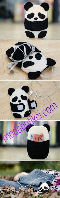 Bu da el yapımı kulaklık aparatı panda modeli