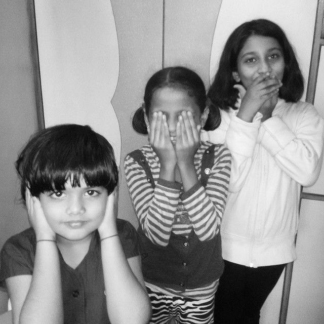 #instagram #photooftheday #gandhi #thoughts #by #kids #TFLers #igers#India #3 #monkeys showing 3 morals for life .Bura Mat Suno , Bura Mat Dekho ,Bura Mat Bolo.