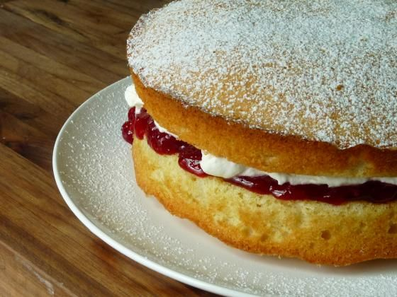victoria sponge cake-- traditional English cake to accompany tea