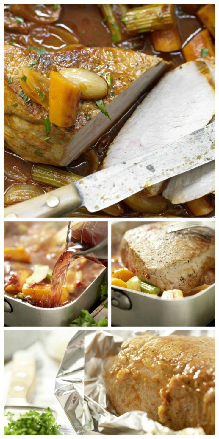 Die Sauce mit Salz und Pfeffer würzen, die Petersilie dazugeben. Fleisch in Scheiben geschnitten mit Sauce und Gemüse servieren: http://eatsmarter.de/rezepte/grossmutters-kalbsbraten-smarter | http://eatsmarter.de/rezepte/grossmutters-kalbsbraten-smarter