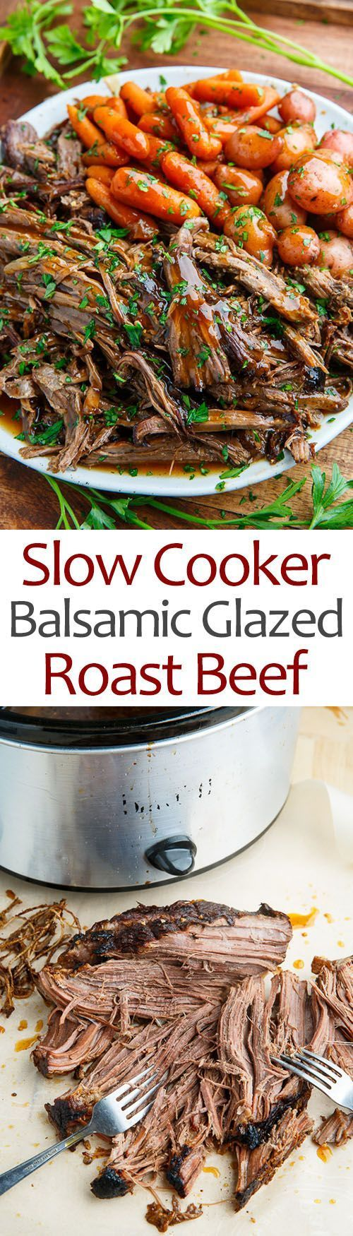 Moist and fall apart tender roast beef in a tasty balsamic glaze that is so easy to make in the slow cooker!