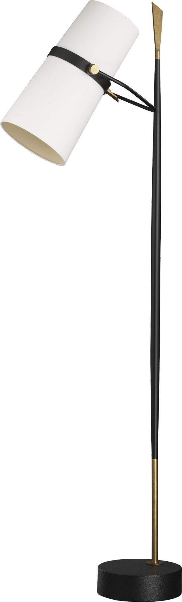 A lot of personality lights up the room with this medieval-modern floor lamp crafted in antiqued brass and black iron.  Slender mixed metal base rises spear-like from its offset pedestal, ending in a distinctive geometric finial.  Contemporary megaphone white shade covers two sockets for optimal lighting.