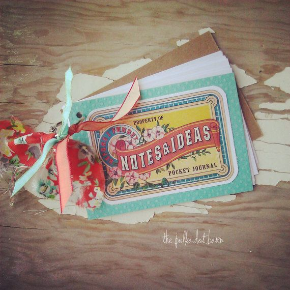 notes & ideas mini notebook journal 3x5 by thepolkadotbarn on Etsy