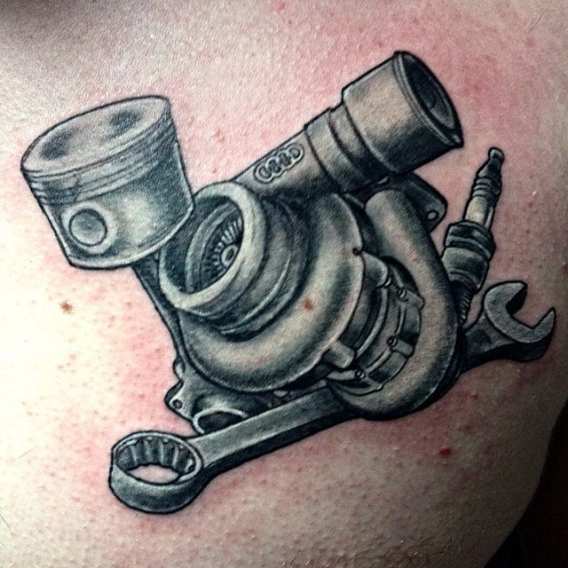 Wrench And Piston Tattoo Nofilter #nocolor #turbo #wrench #spark_plug ...