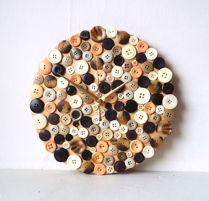 Brown Wall Clock - Buttons Clock - Mulberry Paper Decoupage Round Wall Clock - Unique Mosaic 3D Clock by NaturalClocks on Etsy https://www.etsy.com/listing/248066486/brown-wall-clock-buttons-clock-mulberry