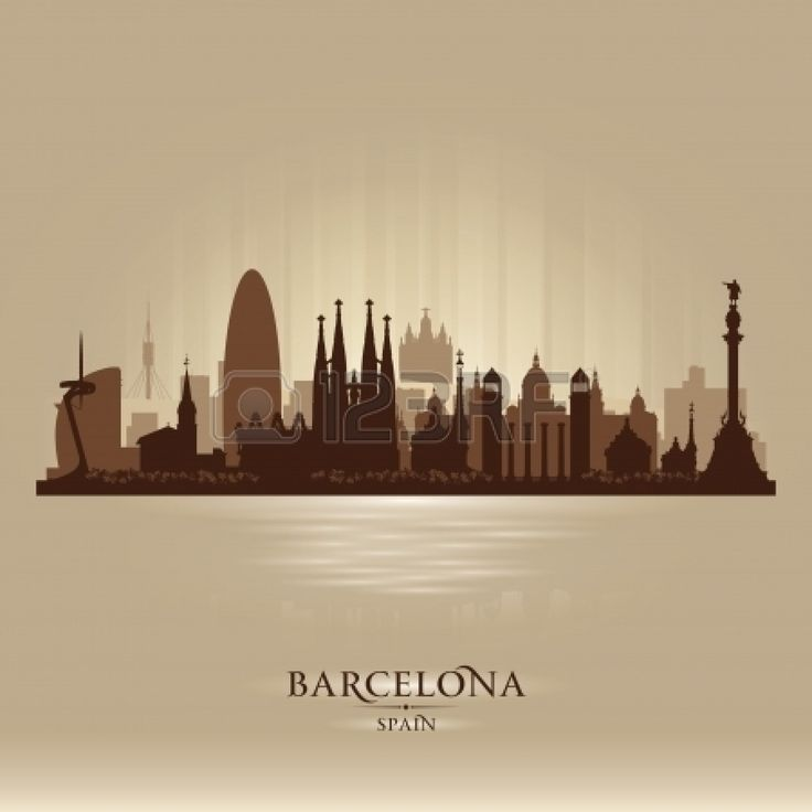 22598616-barcelona-spain-city-skyline-vector-silhouette-illustration.jpg (1350×1350)