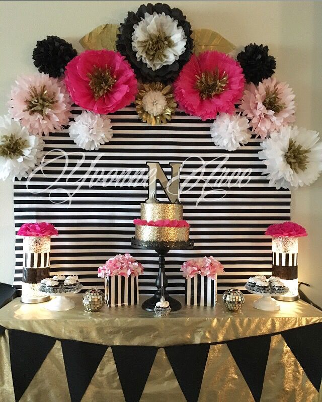 Kate Spade inspired black white pink and gold. Paper flowers decor birthday party decor