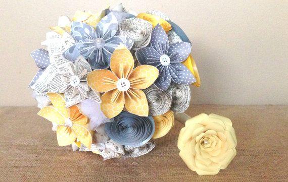 Bouquet da sposa di fiori di carta di ccCraftandVintage su Etsy