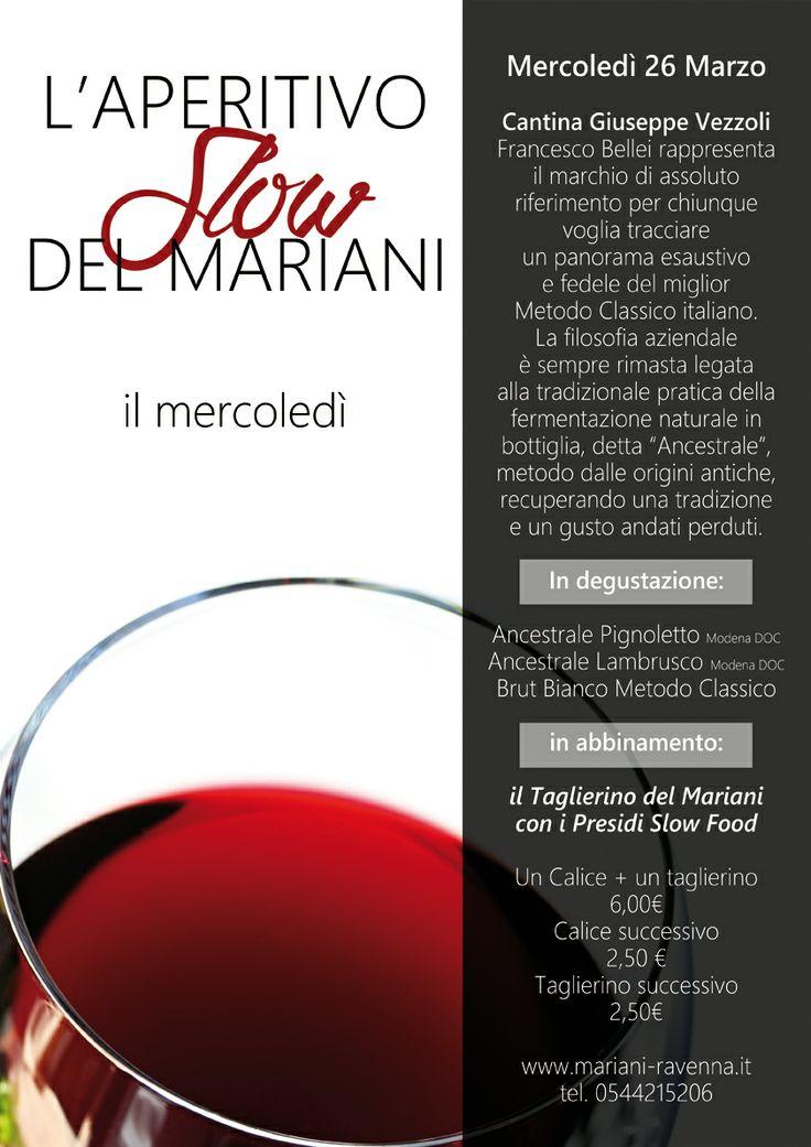 L'aperitivo Slow del 25 marzo al Mariani!
