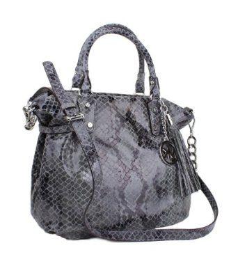 Michael Kors Megan Large Snake-embossed Leather Satchel Bag - Dark Slate