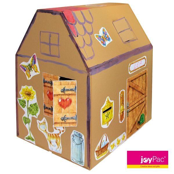 kartonhaus von joypac zum basteln und gestalten das karton haus entsteht mit wenigen. Black Bedroom Furniture Sets. Home Design Ideas