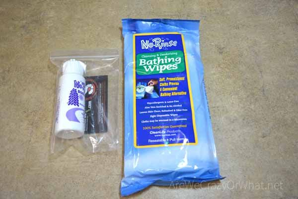 Package of no-rinse body wipes and 3 Wet Wipes, plus a bonus No-Rinse Body Wash