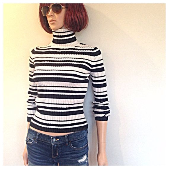 90s Vintage Striped Sweater Ribbed Black By MainCourseVintage