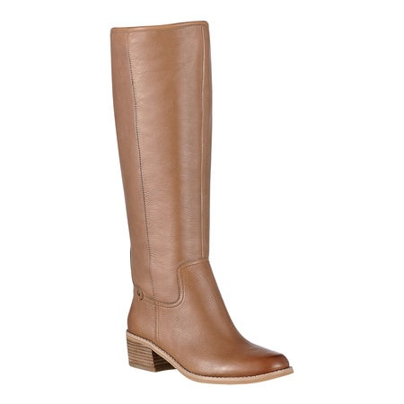 """Classic pull on riding boot.  Leather upper.  This style is available exclusively @ Nine West Stores & ninewest.com.  Measurements: heel 2"""", shaft 16"""" and circumference 15""""."""