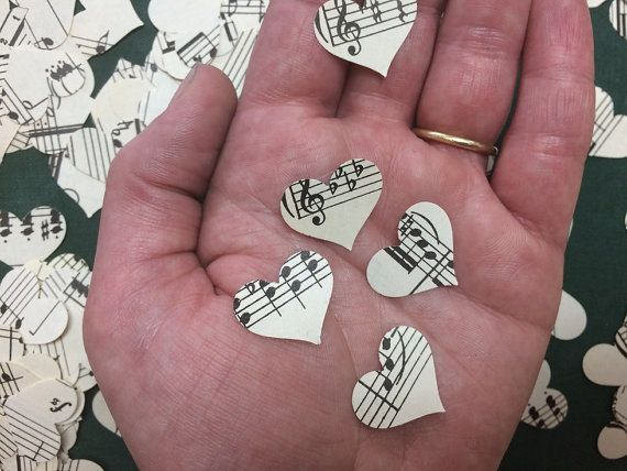 500 Heart Confetti, Music Note Confetti, Music theme Party, Hearts, Music Decor, Sheet Music Heart, Sheet Music Confetti