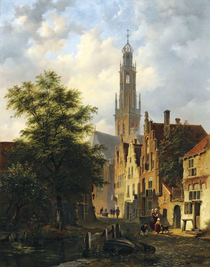 Bartholomeus van Hove (Dutch, 1790- 1880) - BAKENESSERKERK SEEN FROM THE VALKESTRAAT, HAARLEM, 1845