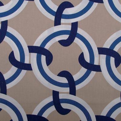 fun blue, white and tan geometric - duralee