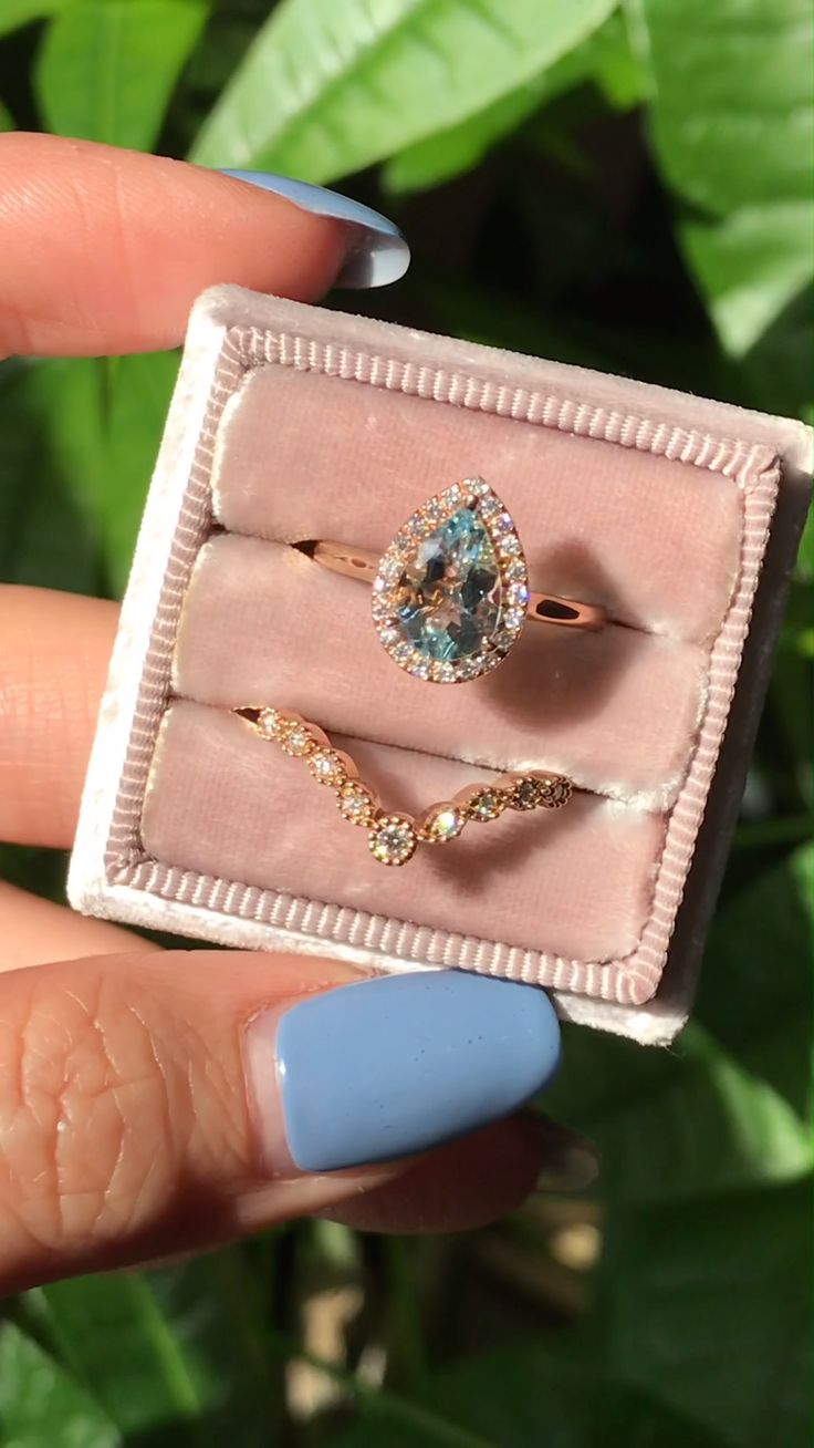 Pear Aquamarine Halo Ring + Star Diamond Band Bridal Set by La More Design