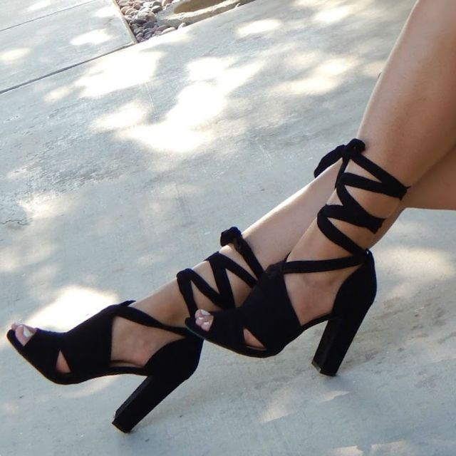 Ankle Wrapped Around Chunky Heels