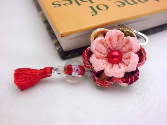Red Pink Flower Bookmark/ Kanzashi Inspired/ Red by JagataraArt