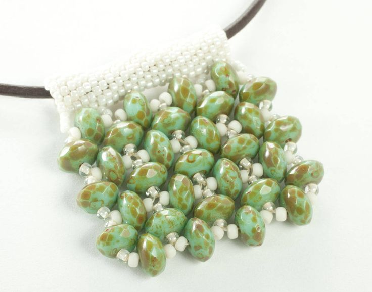 Right-Angle Weave Beaded Waffle Pendant