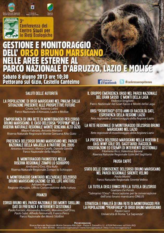 #Gestione e #monitoraggio dell' #orso bruno #marsicano nelle aree esterne al #Parco - #conferenza #Abruzzo