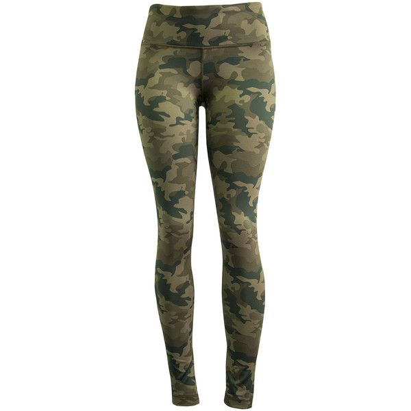 90 Degree by Reflex Green Camo Leggings ($17) ❤ liked on Polyvore featuring pants, leggings, camouflage leggings, green pants, stretch trousers, legging pants and stretchy leggings