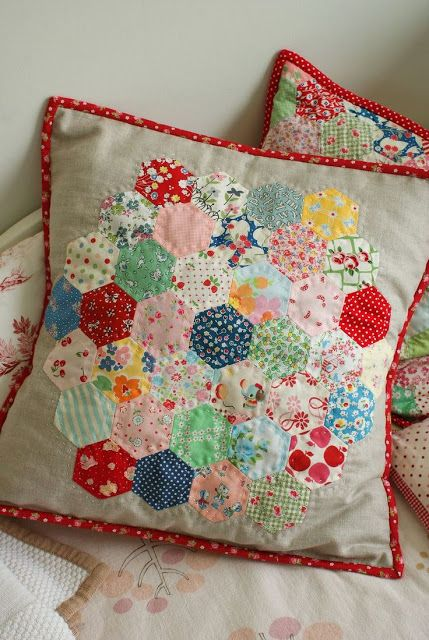 Vintage Style Quilted Pillows add instant vintage flavor to a room. ~MWP - Getting Clever with Upholstery Fabric   HAPPY LOVES ROSIE