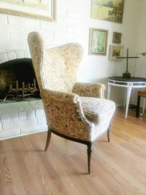 Vintage Danish Early Mid Century Modern Wing Back Chair with floral motif, nailhead trim and tapered legs