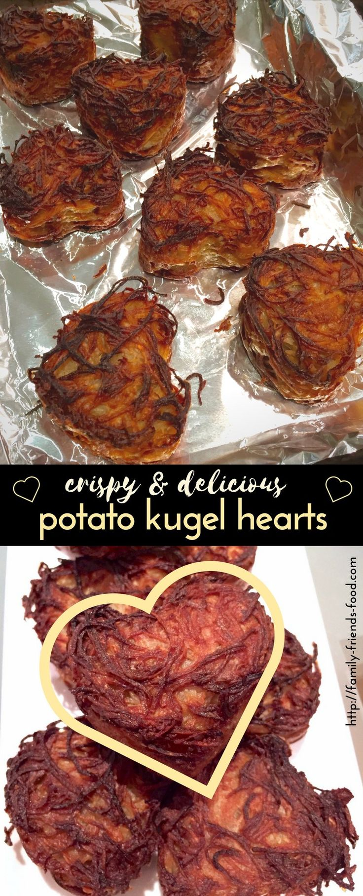 Say I love you with potato kugel! These individual kugels are crispy, golden, & deliciously heart-shaped. Soft on the inside, just like you!
