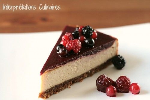 Cheesecake sans cheese, aux fruits rouges (vegan)