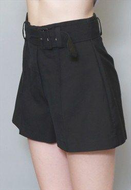 Vintage 1980's Pretty Black Belted Smart Shorts