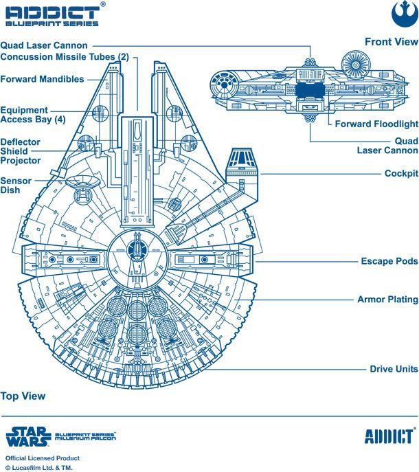 addict x star wars millenium falcon blueprint lega nerd graphics pinterest war stars. Black Bedroom Furniture Sets. Home Design Ideas