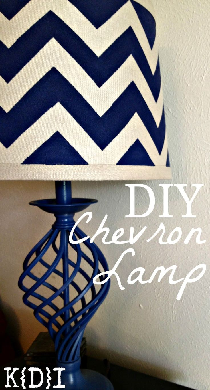 DIY Chevron Lamp--taupe and beige for the family room would be perfect.