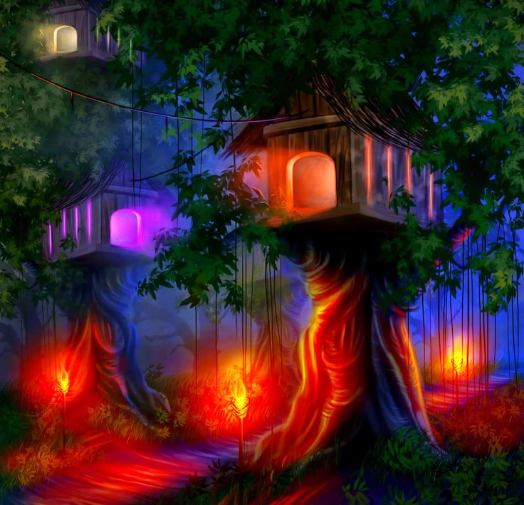Glowing Tree House With Lights At Night Graphics Image