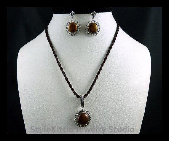 Chocolate Brown Coin Pearls 925 Sterling by StyleKittieJewelry