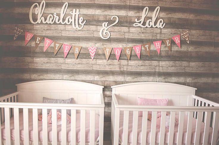 Double the love! Adorable twin girls' nursery.