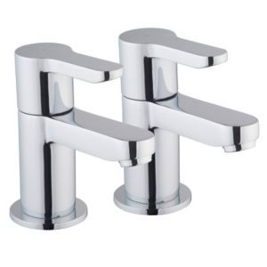 Cooke & Lewis Tahoe Chrome Hot & Cold Bath Pillar Tap Pack of 2