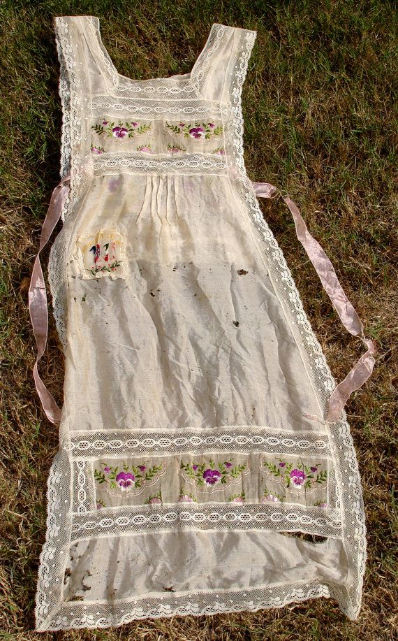 antique French embroidered pinafore apron that has been well loved