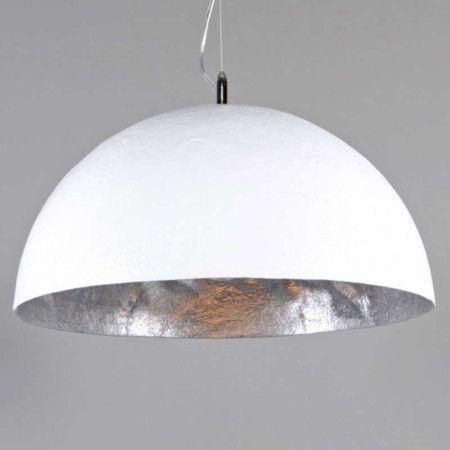 moderne runde pendelleuchte wei mit silberner innenseite magna 50 leuchten aus der magna. Black Bedroom Furniture Sets. Home Design Ideas