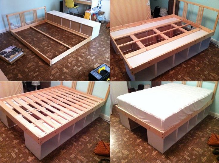 Keeping stuff under the bed totally makes sense, if you need to maximize storage in your bedroom. However beds with drawers under them can be expensive.    Here's a DIY solution! Turn two sturdy bookshelves on their sides and use them as legs. Then build the bed frame on top of them.    What do you think?     http://blog.jasonlang.me/ikea-hack-storage-bed