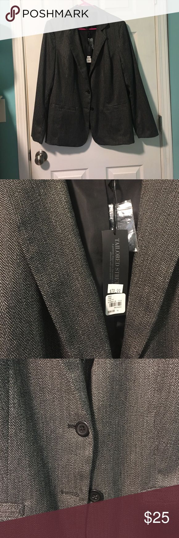 Grey tailored cut herringbone suit jacket Grey tailored cut herringbone suit jacket. Never been worn. Spare buttons included. See other post for matching ankle style suit pants - 10% off on bundles Lane Bryant Jackets & Coats Blazers