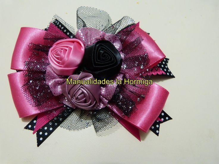 como elaborar moñosy flores faciles para accesorios del cabello paso a p...