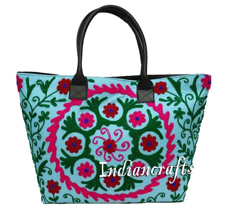 Indian Cotton Woman Gypsy Tote Handmade Suzani Embroidery Shoulder Bag Boho Bag #Handmade #ShoulderBag