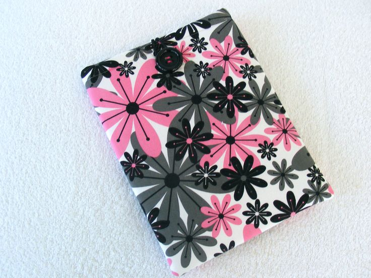 "IPad Pro 9 Cover,  IPad Air Cover, IPad Pro Case, Nook HD+ Cover, Samsung Galaxy T2 Cover, IPad Cover,  Pink and Black Daisy Print, 11"" x 7"" by LindaLeasBoutique on Etsy"